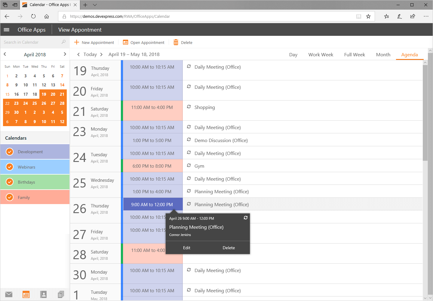 ASP.NET Web Forms Scheduler and Calendar Control - DevExpress