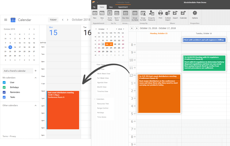 Sync with Outlook and Google Calendar - WinForms Scheduler Control | DevExpress