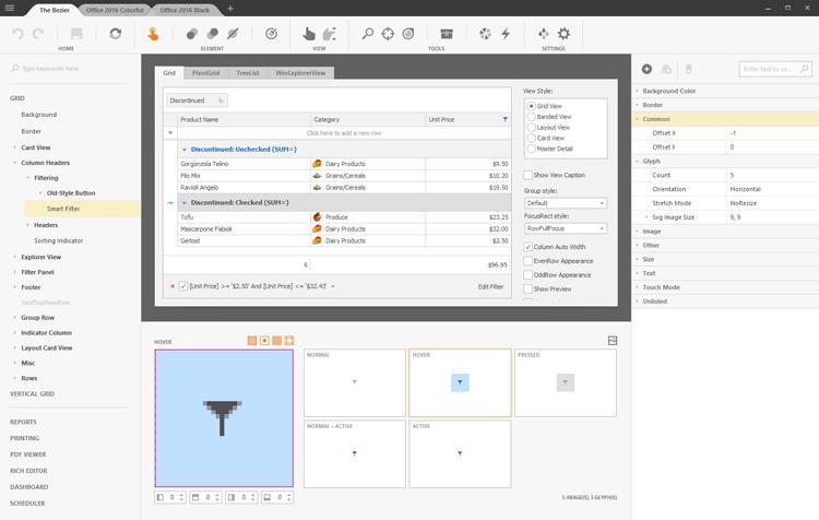 DevExpress Skin Editor Application for WinForms Themes