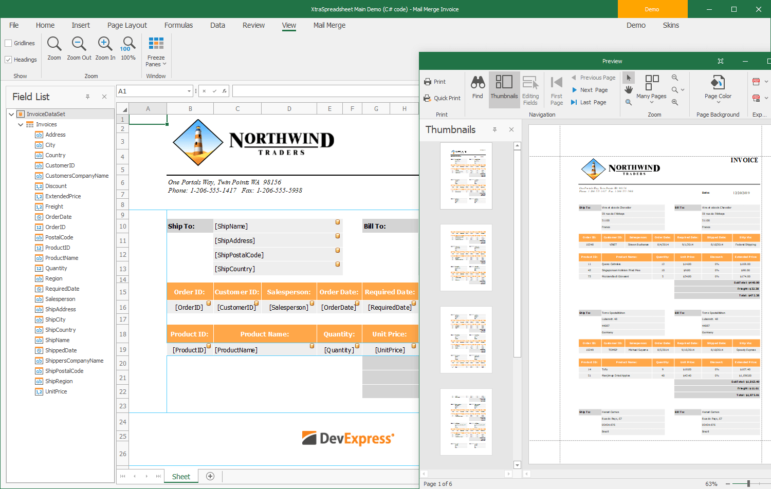 Mail Merge - WinForms Spreadsheet Control, DevExpress