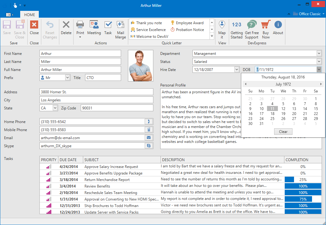 WPF Office Inspired App - Contact Details Edit Form