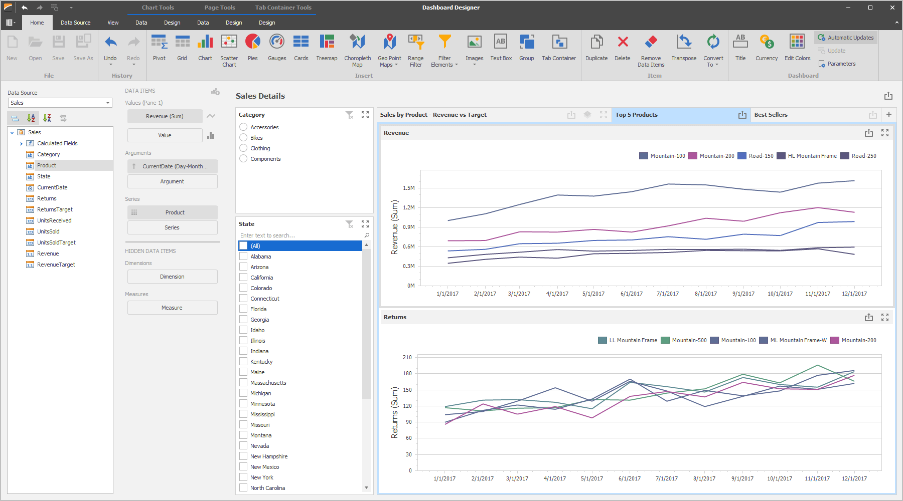 Dashboard Designer- Tabbed Layout, DevExpress