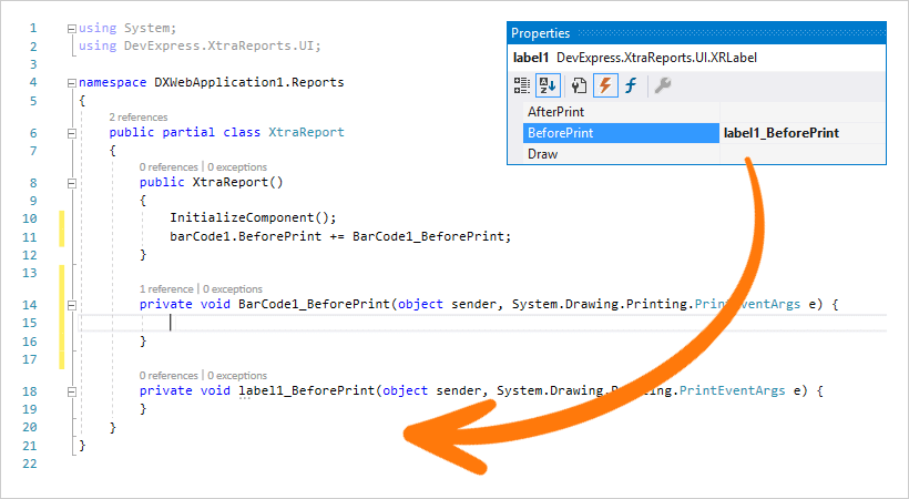 ASP.NET Core Reporting - Event Handling, DevExpress