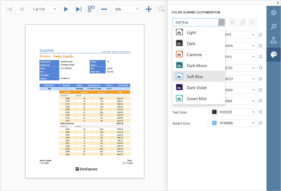 New Color Schemes - .NET Web Reporting, DevExpress