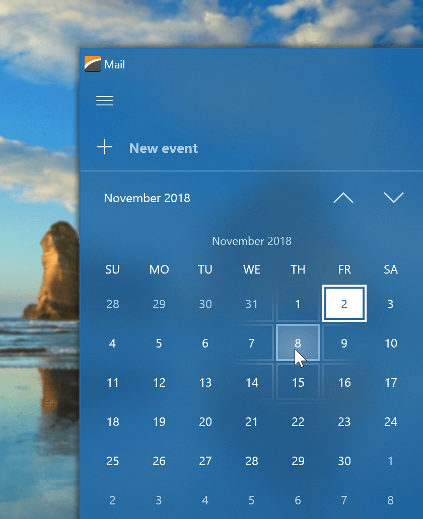 WinForms Calendar Control - New Fluent View, DevExpress