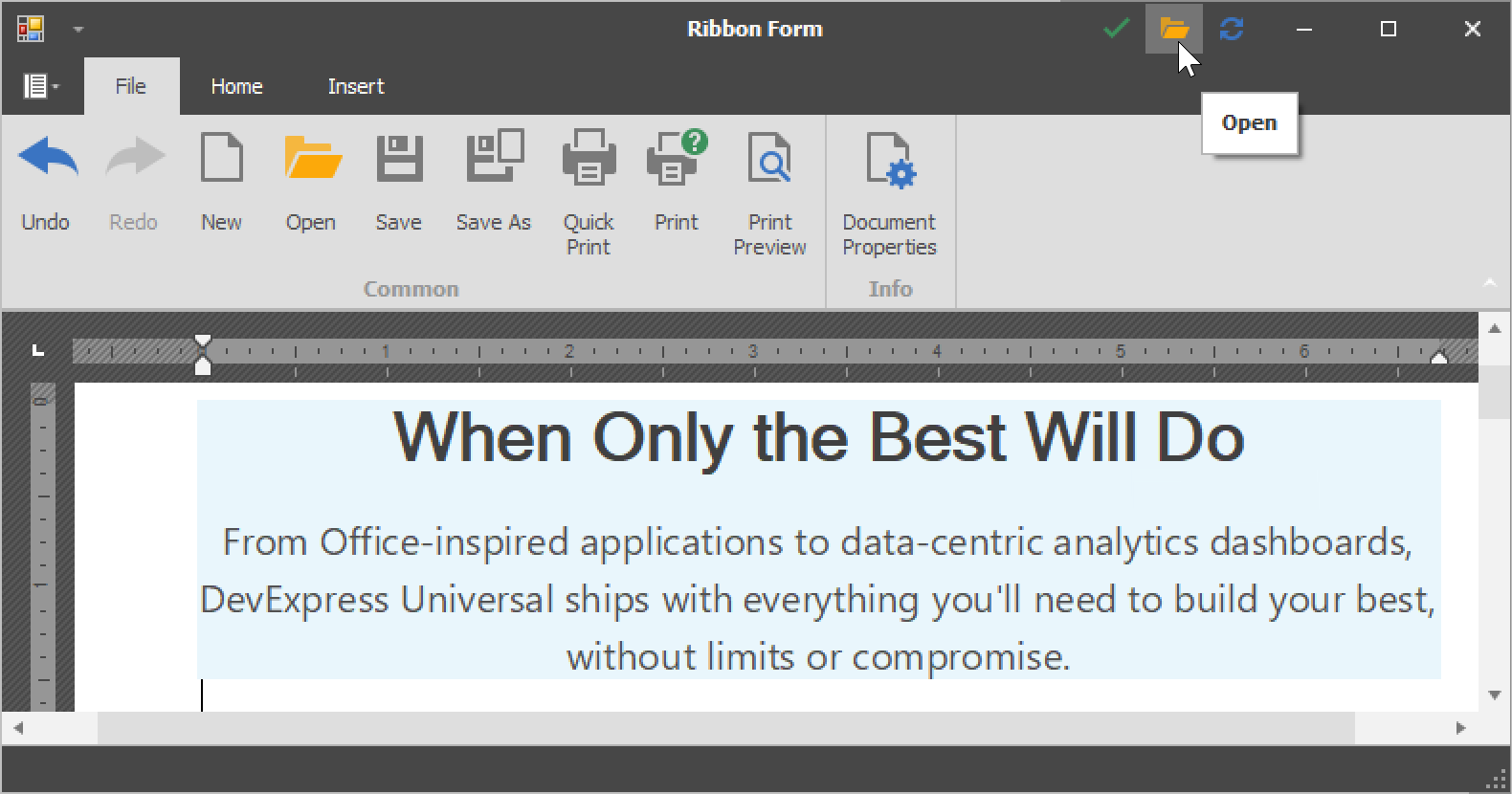 WinForms Ribbon Caption Bar, DevExpress