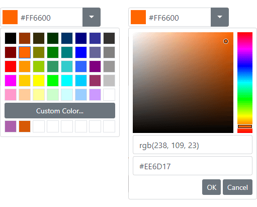 ASP.NET Bootstrap Color Editor - DevExpress