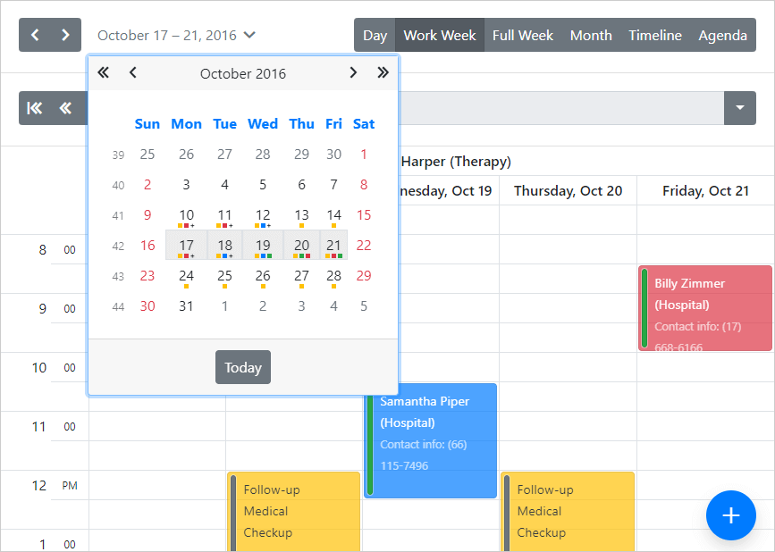 Bootstrap Scheduler - Date Highlighting in Date Navigator, DevExpress