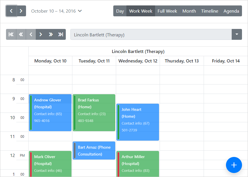 Bootstrap Scheduler - Date Navigator, DevExpress