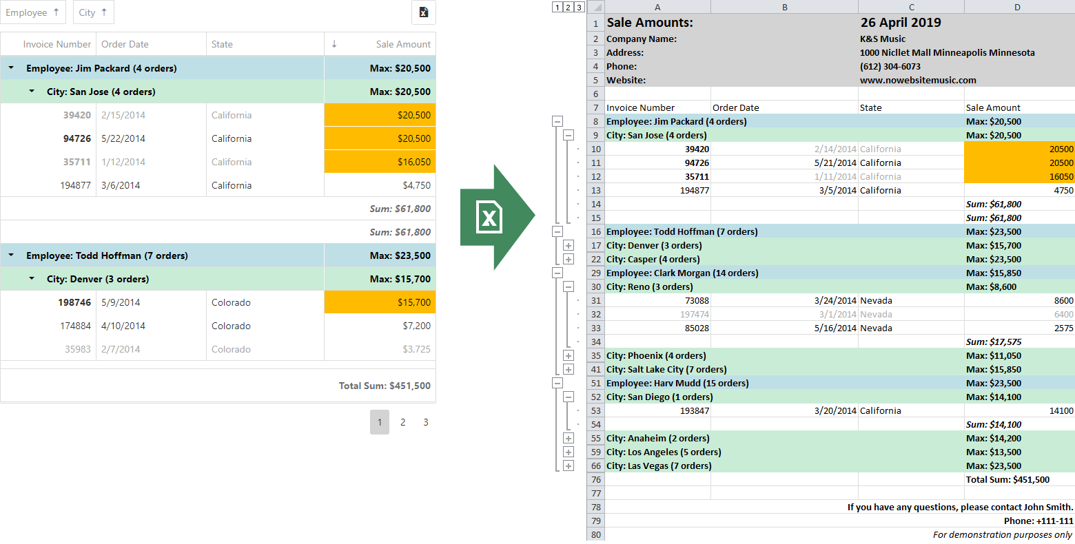 JS DataGrid - New Export To Excel, DevExtreme | DevExpress
