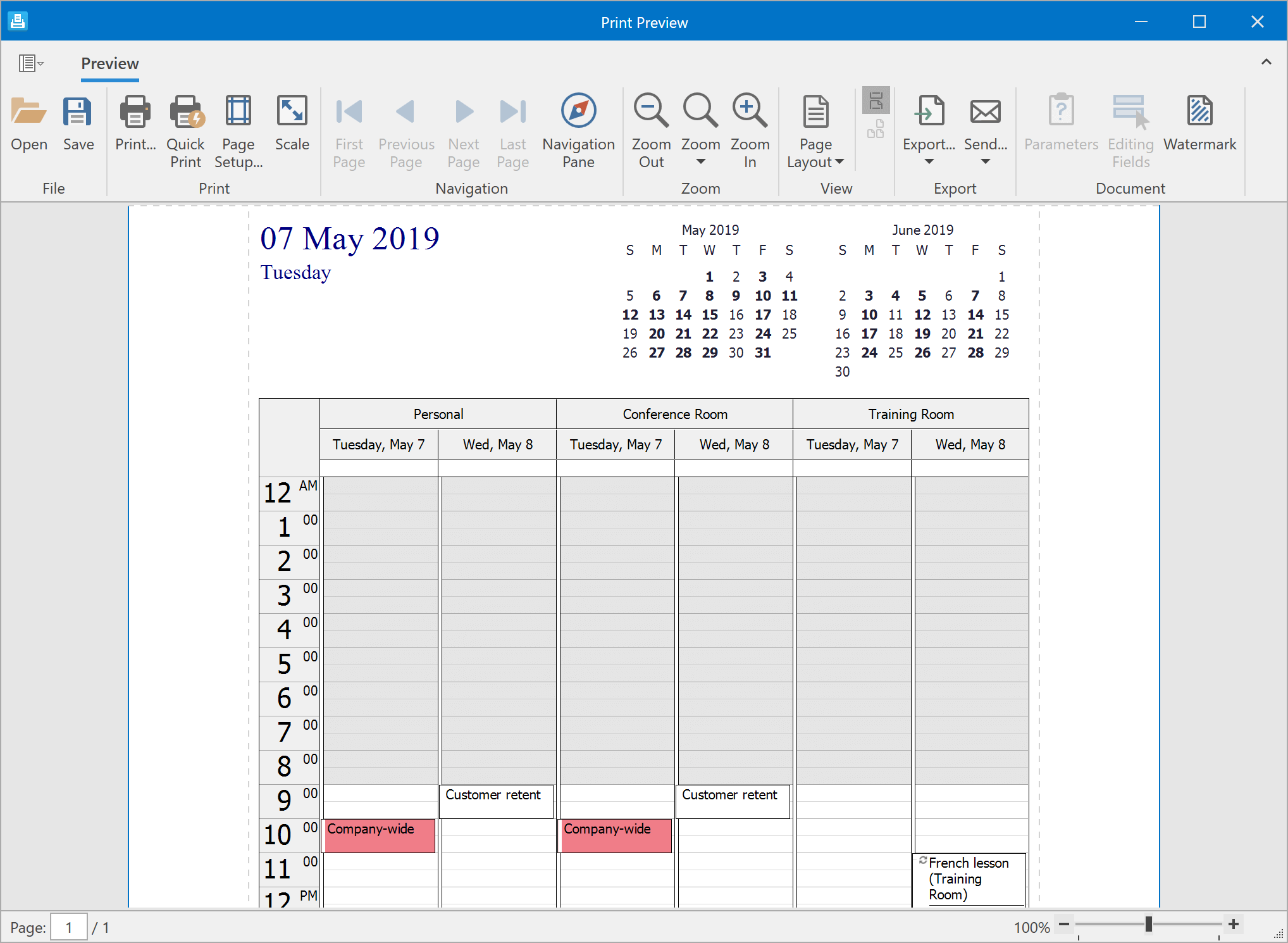 Print Preview - WPF Scheduler, DevExpress