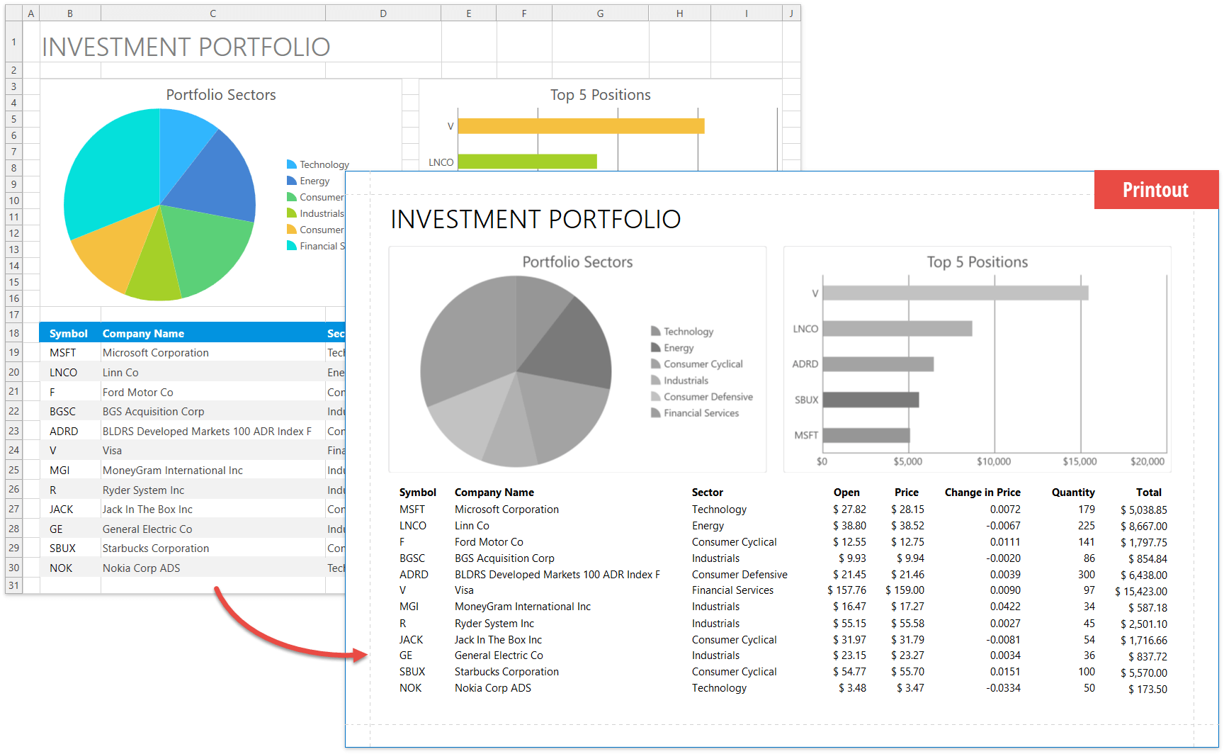 Black and White Print Mode - WPF Spreadsheet, DevExpress