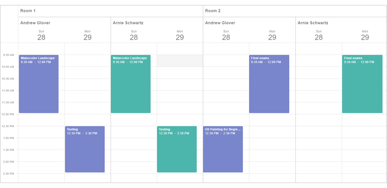 Native React Scheduler - Resources and Grouping | DevExpress