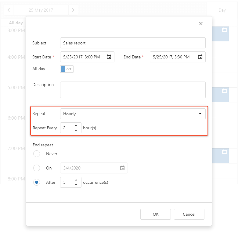 Hourly Repeating Events - ASP.NET Core Scheduler | DevExpress