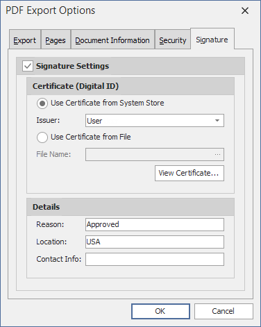 VCL PDF Export - Digital Signature Options | DevExpress
