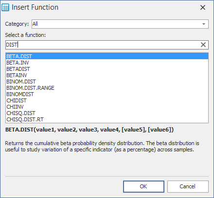 VCL Spreadsheet Control - Function Search Box | DevExpress