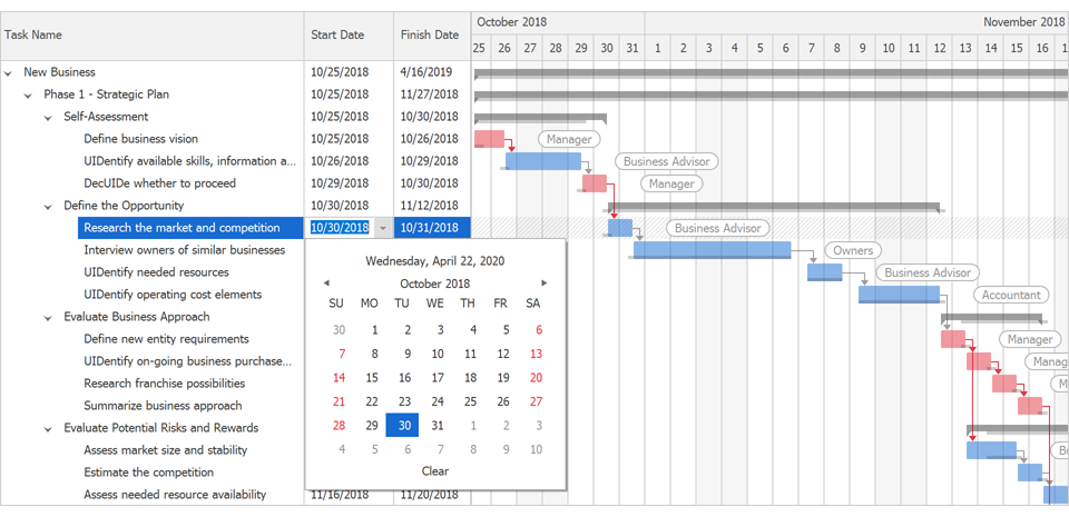 Interactive Editing - WinForms Gantt Control | DevExpress