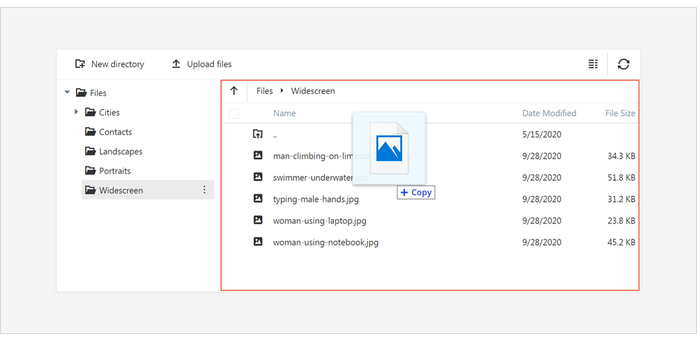 File Upload via Drag and Drop - ASP.NET Core File Manager | DevExpress