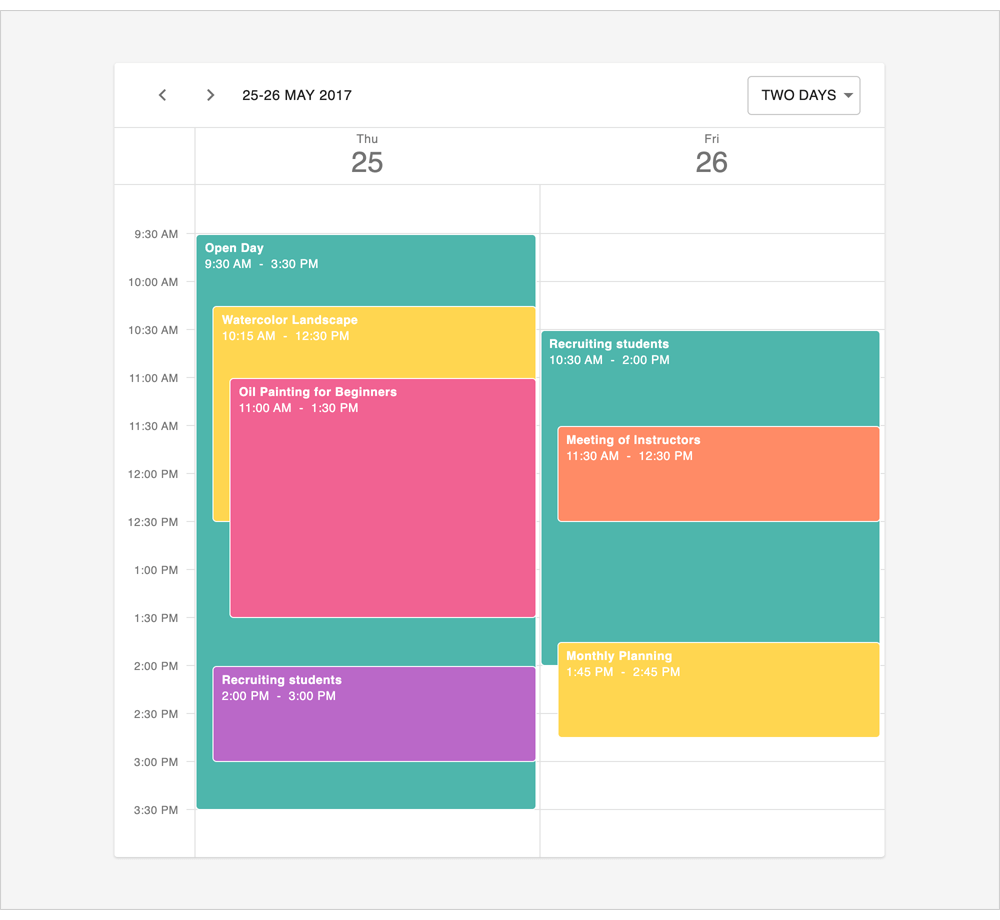 Enhanced Rendering for Overlapped Events/Appointments - React Scheduler | DevExtreme, DevExpress