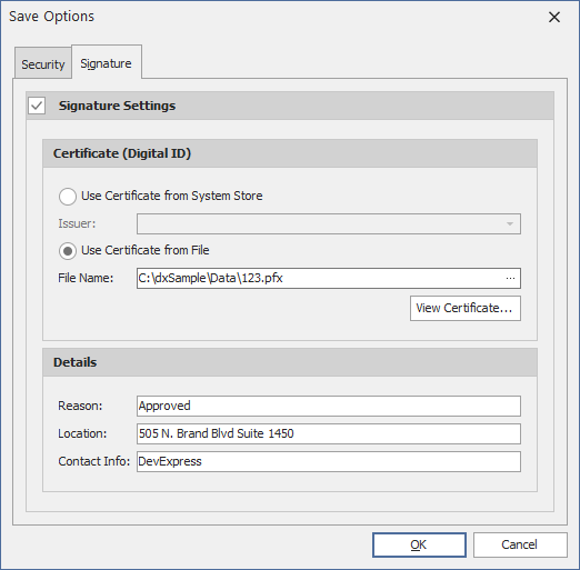 VCL PDF Viewer - Signature Settings | DevExpress