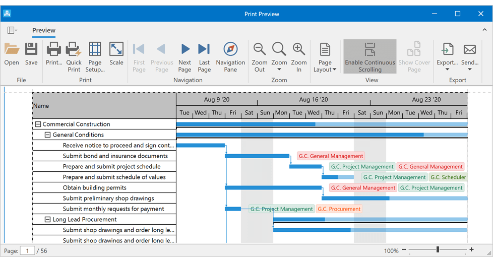 Print Support and Data Export - WPF Gantt Control | DevExpress