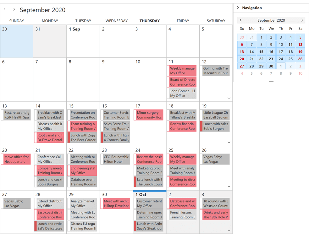 One Month View - WPF Scheduler Control | DevExpress