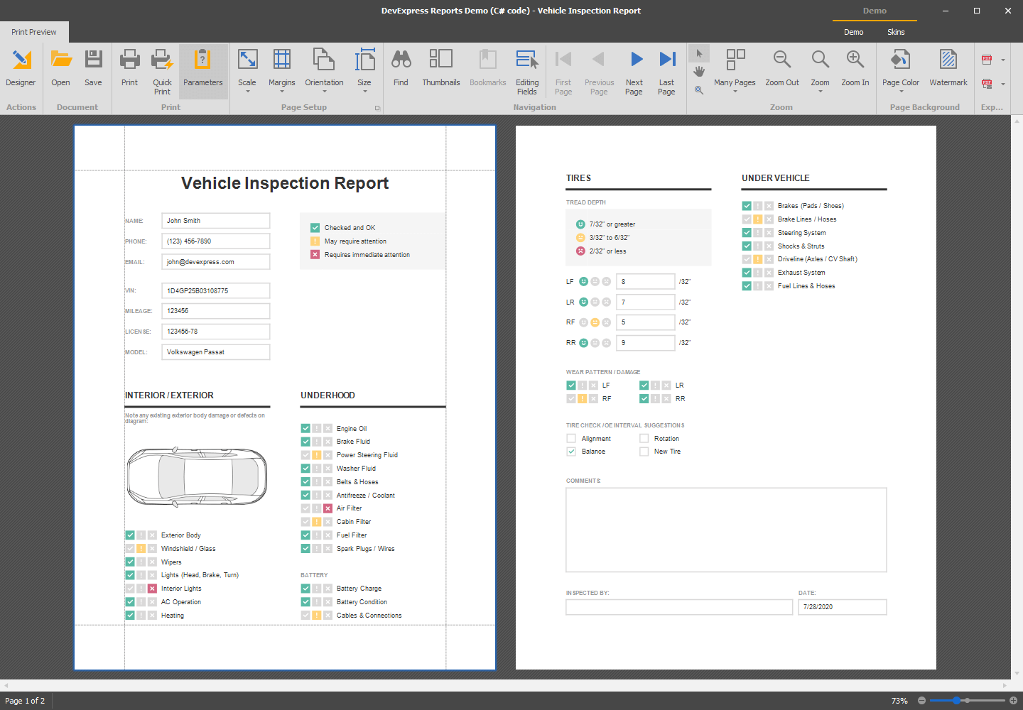 Vehicle Inspection Report - WinForms Report Viewer | DevExpress