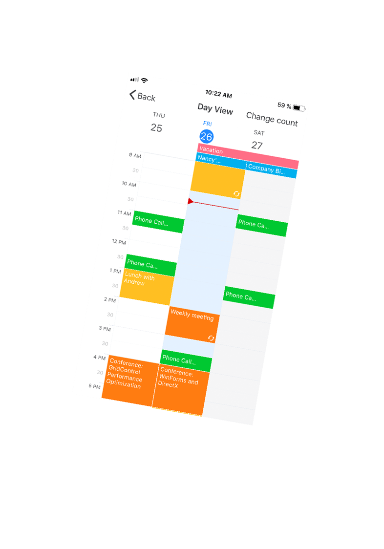 Xamarin.Forms Scheduler App for iOS, DevExpress