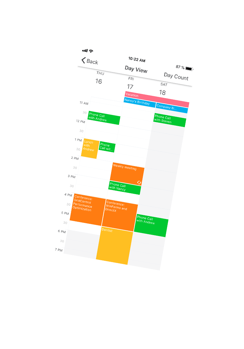 Xamarin.Forms Scheduler App for iOS - Day View, DevExpress